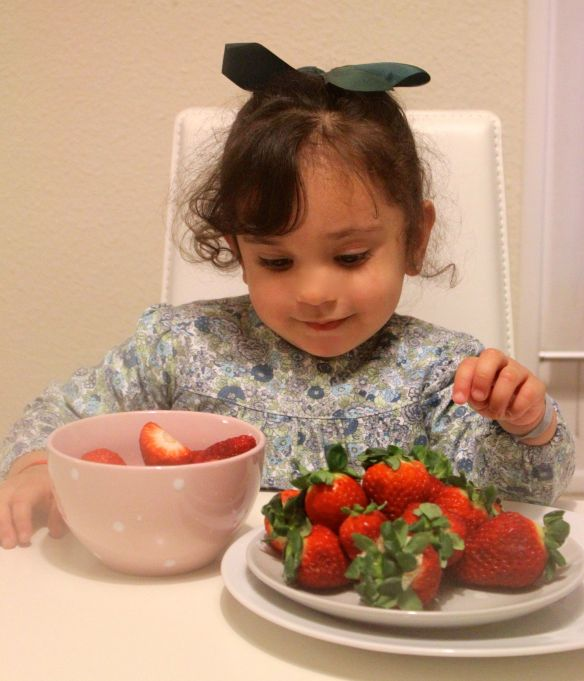 fresas y niños